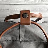 Рюкзак - сумка с коричневыми ручками канкен серый 16 литров Fjallraven Kanken No.2 женский, для девочки, фото 9