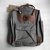 Рюкзак - сумка с коричневыми ручками канкен серый 16 литров Fjallraven Kanken No.2 женский, для девочки, фото 7