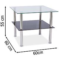 Стеклянный прозрачный журнальный столик 60х60см Signal Tessa с тонированной полкой для гостиной в стиле модерн