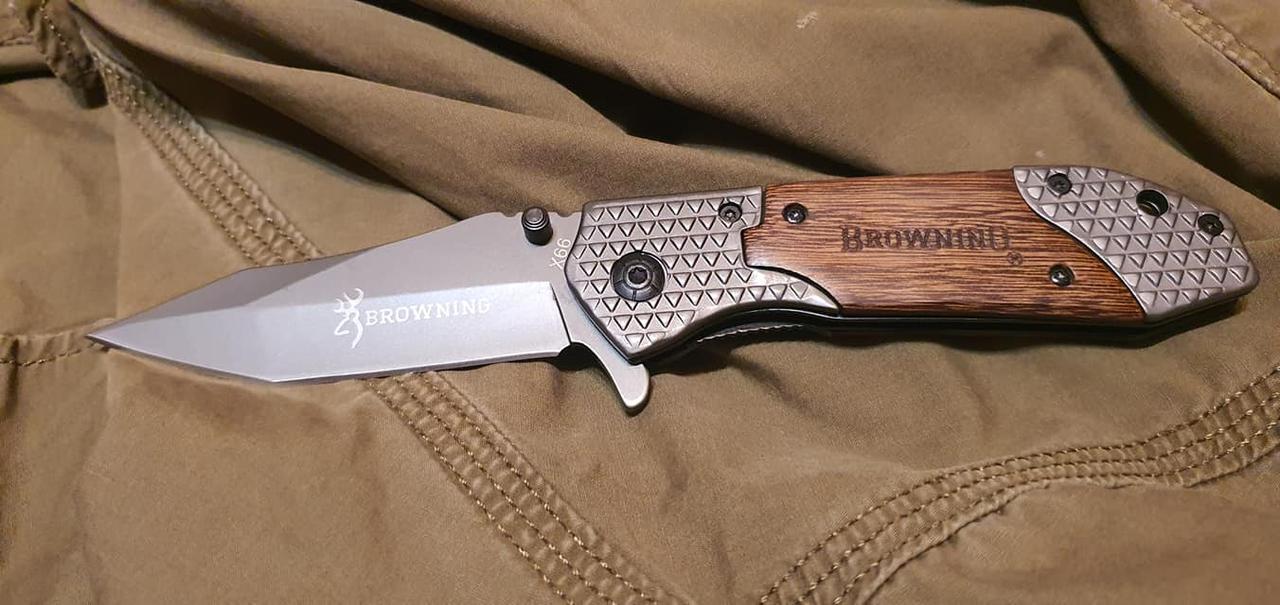 Складной охотничий нож Browning 2108 реплика с деревянными накладками
