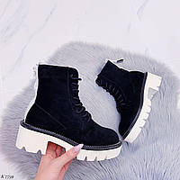 41 р. Ботинки женские деми черные замшевые на толстой подошве платформе демисезонные из искусственной замши, фото 1