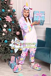 Костюм кигуруми пижама звездный единорог для взрослых и детей