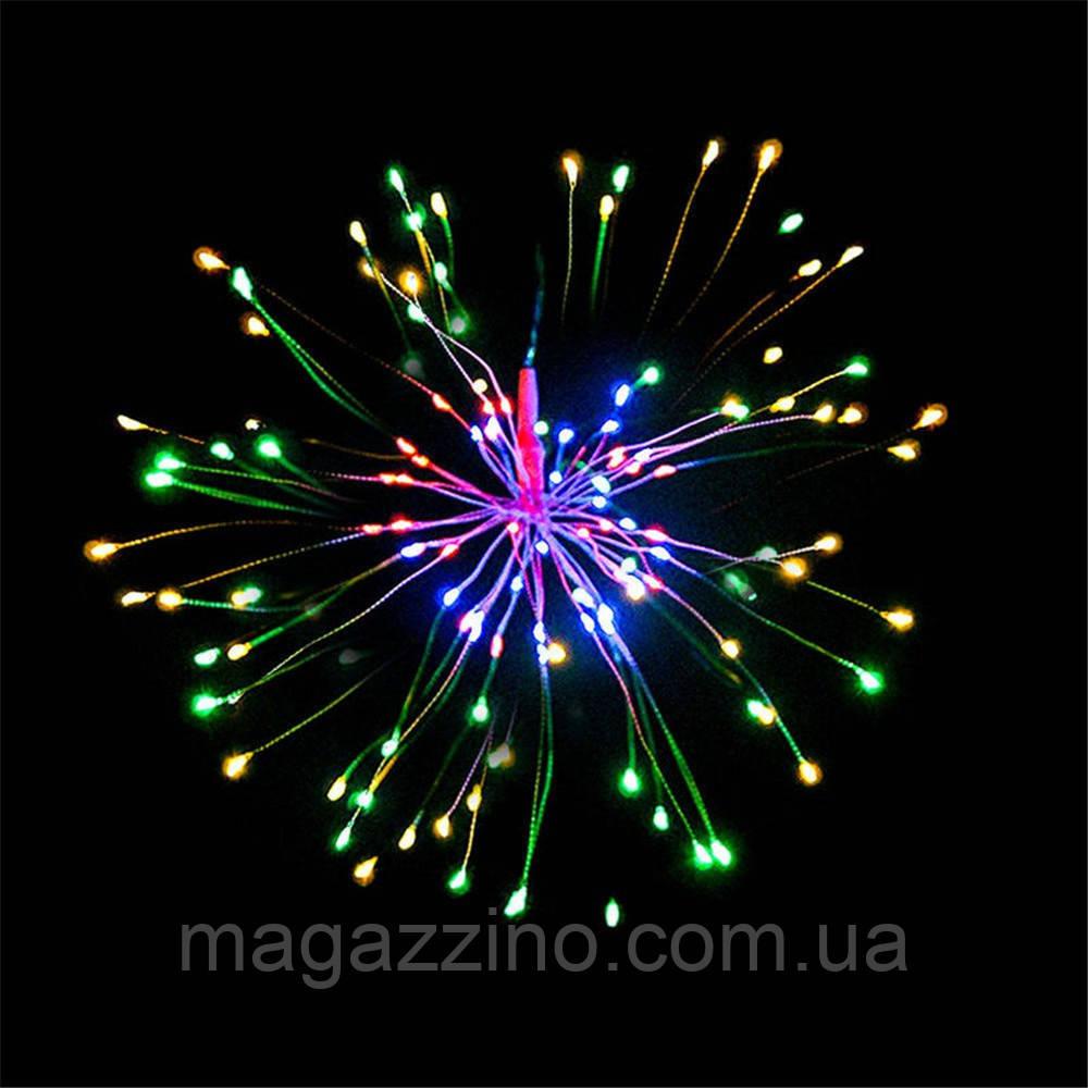 Гирлянда Одуванчик, Фейерверк, 50 LED, 25 нитей, Мультицветная, проволока, 1шт., от сети.