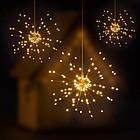 Гирлянда Одуванчик, Фейерверк, 50 LED, 25 нитей, Золотая (Желтая), проволока, 1шт., от сети., фото 3