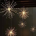 Гирлянда Одуванчик, Фейерверк, 50 LED, 25 нитей, Золотая (Желтая), проволока, 1шт., от сети., фото 7