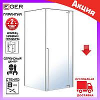 Квадратная душевая кабина 90х90 см с распашной дверью Eger Freez 599-180R/1 без поддона (правая)