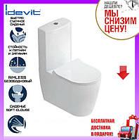 Унитаз-компакт безободковый Idevit Alfa Iderimless с сиденьем slow-closing