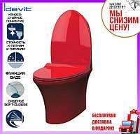 Красный унитаз с функцией биде напольный Idevit Rena сиденье Slim slow-closing