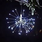 Гирлянда Одуванчик, Фейерверк, 250 LED, 25 нитей, Белая, проволока, 5шт., 2м., от сети., фото 2