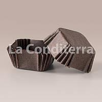 Коричневые квадратные формочки из пергамента для тортов и пирожных 1500 шт., 40x40x22 мм)