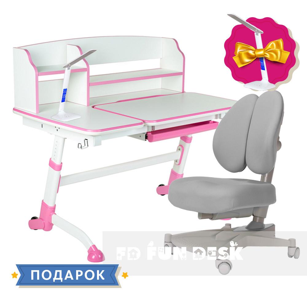 Подростковая парта для школы FunDesk Amare II Pink + ортопедическое кресло FunDesk Contento Grey