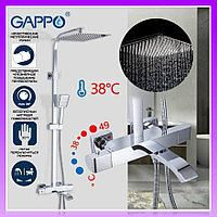 Душевая система с термостатом Gappo Jacob G2407-50 с верхним тропическим душем. Душевая стойки с термостатом