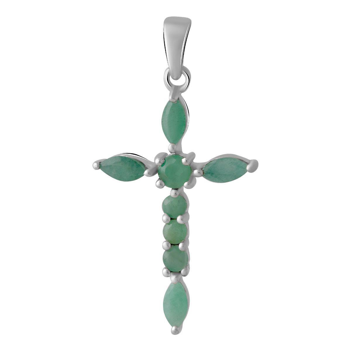 Срібний хрестик DreamJewelry з смарагдом 1.45 ct (2053606)