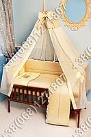 """Детское постельное белье в кроватку с вышивкой """"Пчелка"""" комплект 7 ед. (бежевый)"""