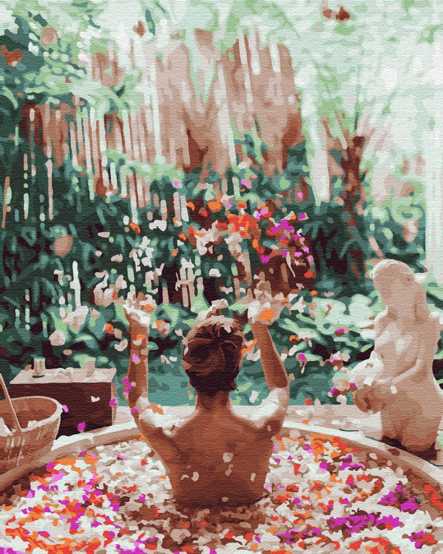 BK-GX34167 Раскраска по номерам Цветочное Бали, Без коробки