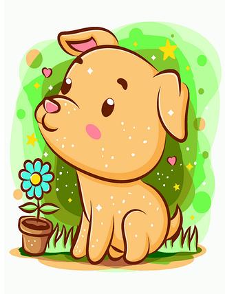 MEX7098 Раскраска по номерам Собачка садовник, В картонной коробке, фото 2
