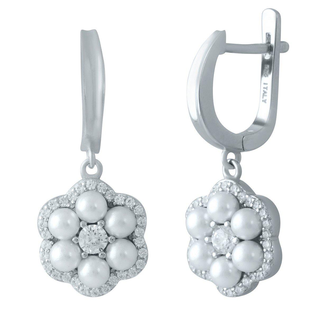 Срібні сережки DreamJewelry з штучним перлами (1980392)