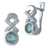 Срібні сережки DreamJewelry з аквамарином nano (2012498), фото 1