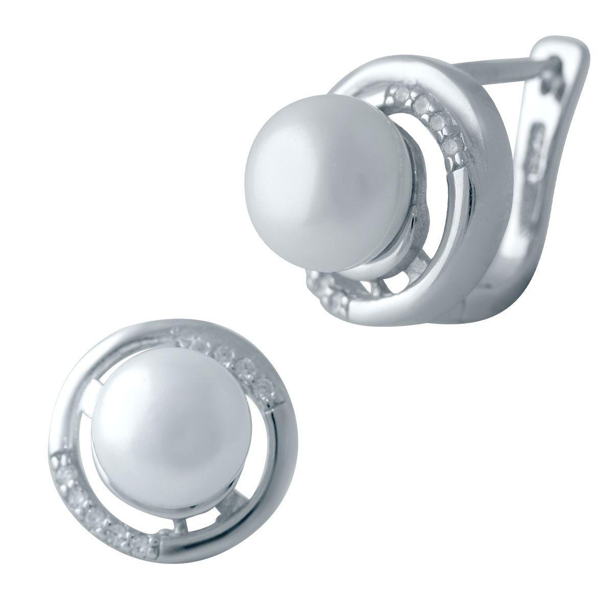 Серебряные серьги DreamJewelry с натуральным жемчугом (2041337)