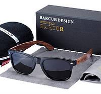 Брендовые солнцезащитные очки в классической оправе с поляризованными линзами (BC8700) BARCUR DESIGN Италия