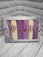 Набор Вафельных кухонных полотенец «Лаванда»Турция 6 штук
