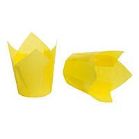 """Бумажные формы для кексов """"Тюльпан"""" 50х75 мм, желтые"""