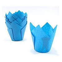 """Бумажные формы для кексов """"Тюльпан"""" 50х75мм, синие"""