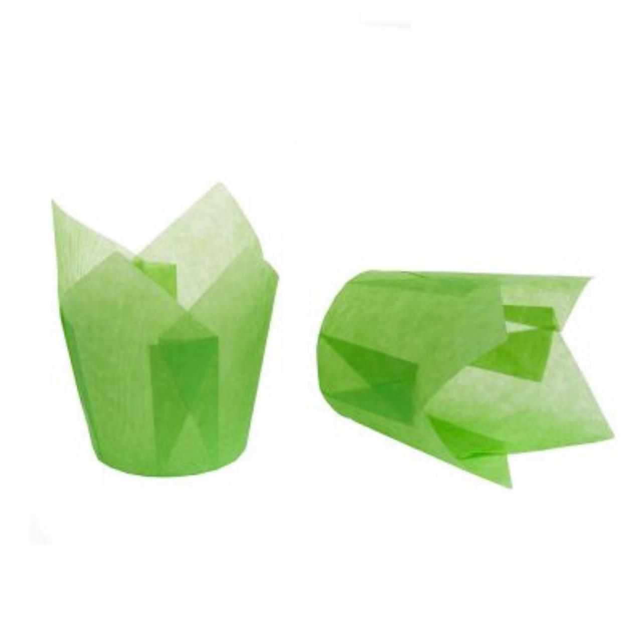 """Паперові форми для кексів """"Тюльпан"""" 50х75 мм, зелені"""
