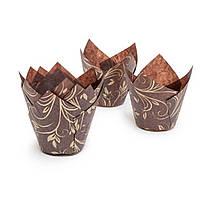 """Бумажные формы для кексов """"Тюльпан"""" 50х75мм, золотой узор"""