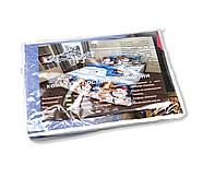 """Двоспальний комплект (Ранфорс)   Постільна білизна від виробника """"Королева Ночі""""   Сніговик на блакитному, фото 5"""