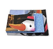 """Двоспальний комплект (Ранфорс)   Постільна білизна від виробника """"Королева Ночі""""   Сніговик на блакитному, фото 2"""