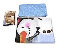 """Двуспальный комплект (Ранфорс)   Постельное белье от производителя """"Королева Ночи""""   Снеговик на голубом, фото 3"""