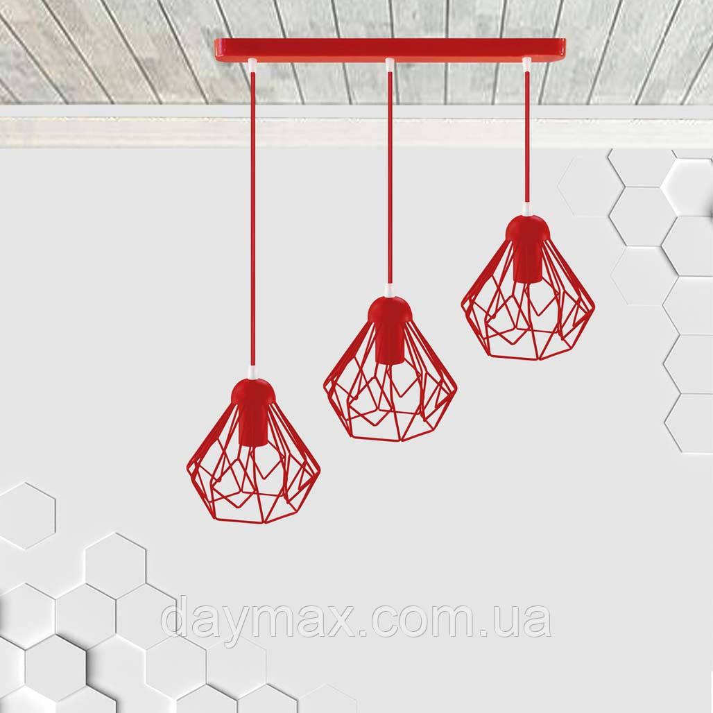 Подвесная люстра на 3-лампы SKRAB-3 E27 красный