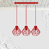 Подвесная люстра на 3-лампы SKRAB-3 E27 красный, фото 2