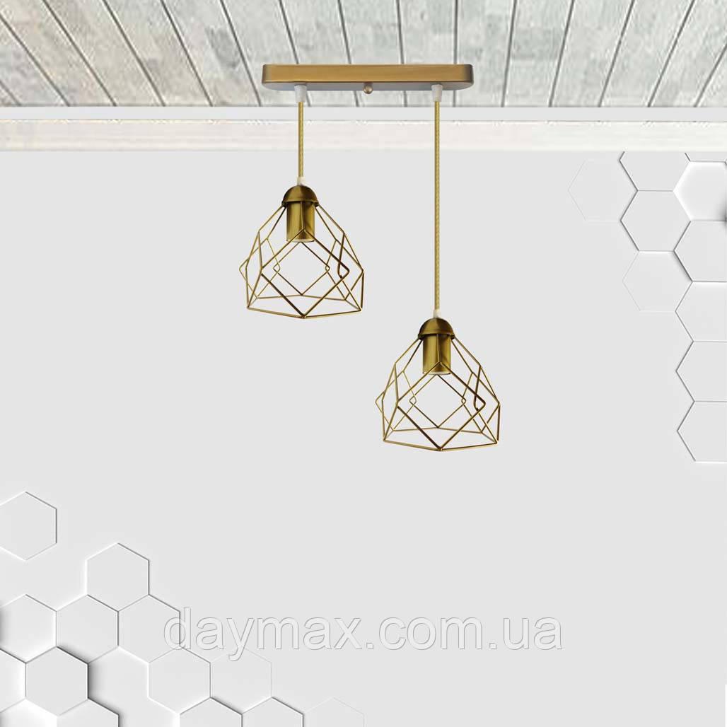 Подвесная люстра на 2-лампы RUBY-2 E27 золото