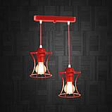 Подвесная люстра на 2-лампы SANDBOX-2 E27 красный, фото 8
