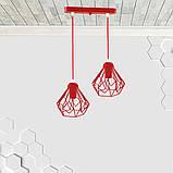 Подвесная люстра на 2-лампы SKRAB-2 E27 красный, фото 2