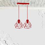 Подвесная люстра на 2-лампы RUBY-2 E27 красный, фото 2