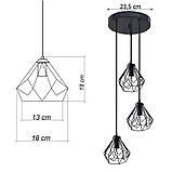 Подвесная люстра на 3-лампы SKRAB-3G E27 на круглой основе, чёрный, фото 8