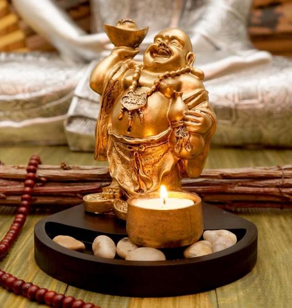 Статуетка Хотей з підсвічником у золотому кольорі 15,5 см