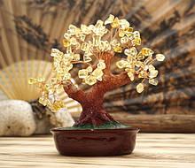 Дерево Щастя з камінням Цитрин 21 см