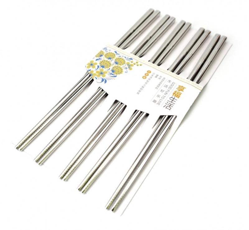 Палочки для еды стальные в блистере набор 5 пар