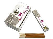 Аромапалочки натуральные индийские благовония Белый Шалфей Нандита Nandita Original White Sage 15 грамм