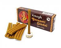Аромапалочки натуральные индийские благовония безосновные Ганапати Сандал Amogh dhoop Ganapati Sandal