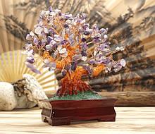 Дерево Щастя з камінням Аметист 22,5 см