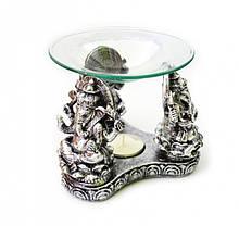 Аромалампа Три Ганеші з полистоун зі скляною чашею