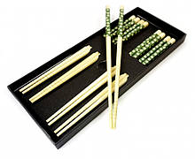 Палочки для еды бамбук с рисунком набор 5 пар №1