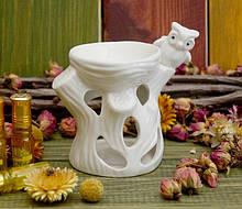 Аромалампа керамічна 'Сова на дереві' Біла