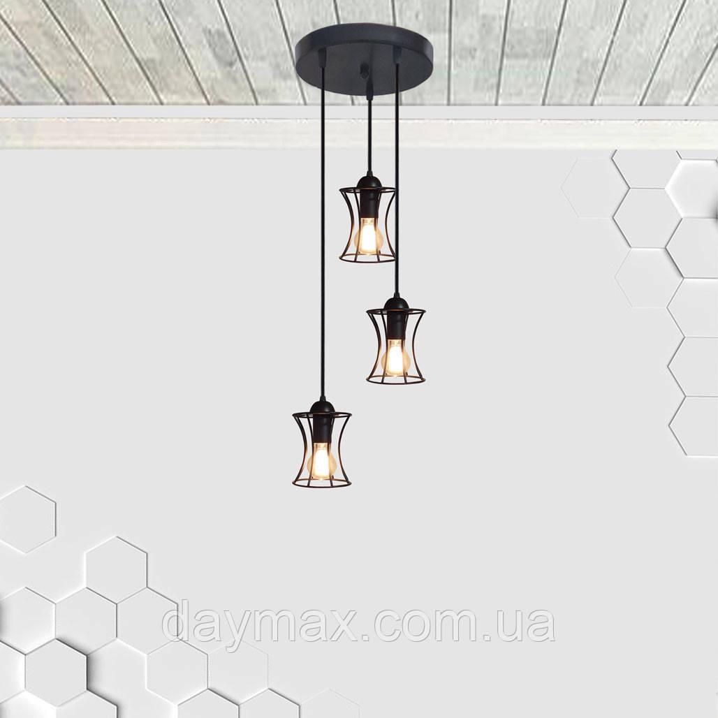 Подвесная люстра на 3-лампы SANDBOX-3G E27 на круглой основе, чёрный