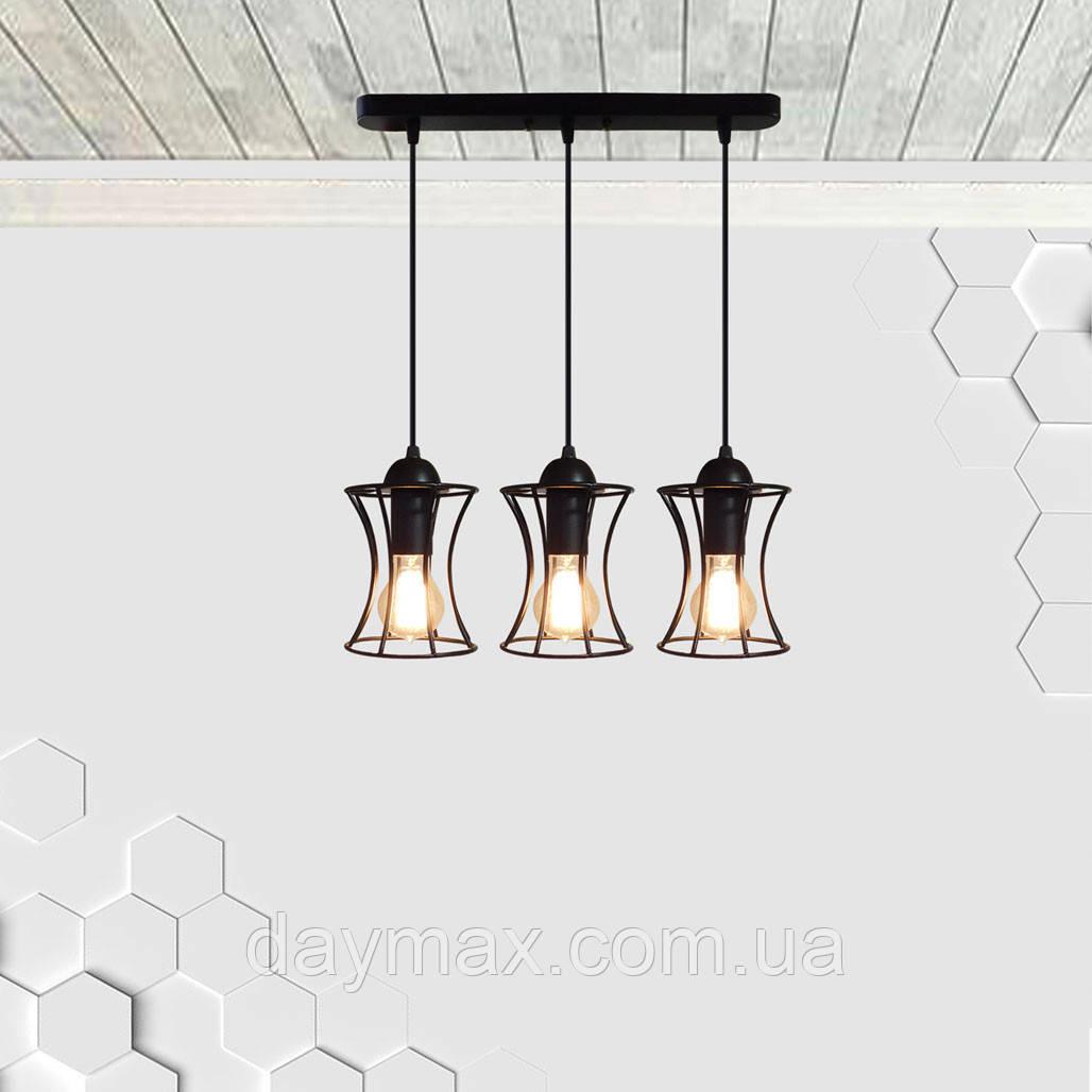 Подвесная люстра на 3-лампы SANDBOX-3 E27 чёрный